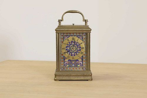 A French brass and enamel cased carriage clock,