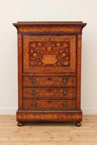 A Dutch mahogany and marquetry-inlaid secretaire or escritoire,