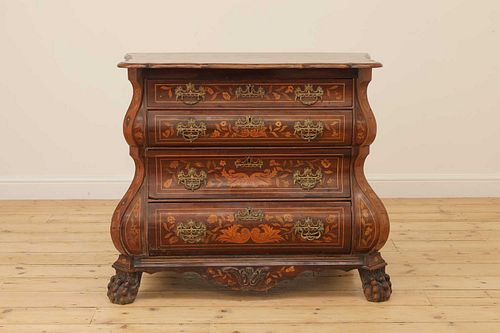 A Dutch marquetry bomb? chest,
