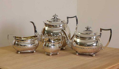 A George III four-piece silver tea service,