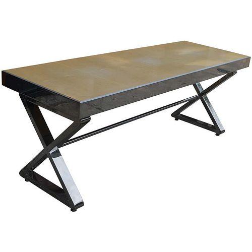 Milo Baughman Style Chrome Bench With X Form Base