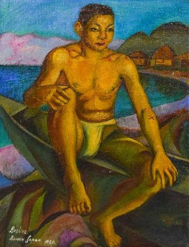 David Burliuk Oil on Burlap Fisherman, Bonin
