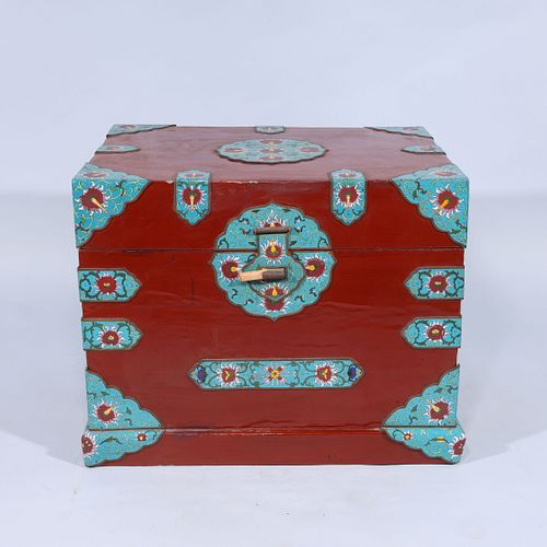 Chinese Red Chest with Cloisonne Accents