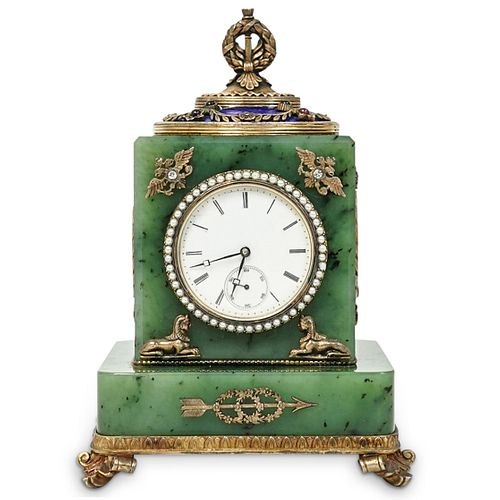 Faberge Nephrite, Enamel and Silver Gilt Clock