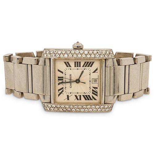 Cartier Tank 2302 Stainless Steel Mens Wristwatch