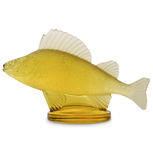 """Lalique """"Poisson Perch Fish"""" Crystal Paperweight"""