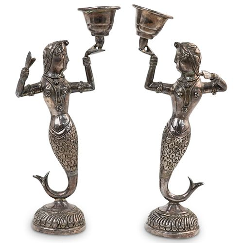 Pair Of Oriental Sterling Silver Candlesticks