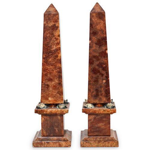 Pair of Alabaster and Turtle Obelisks