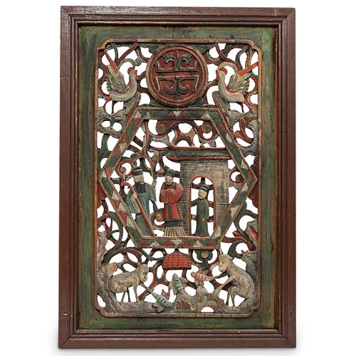 Chinese Polychrome Carved Wood Panel
