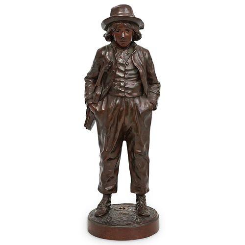 """Jean Garnier (French, 1853 -1910) """"Boy with Violin"""" Bronze"""