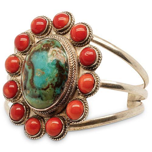 Navajo Style Sterling and Semi Precious Stone Cuff