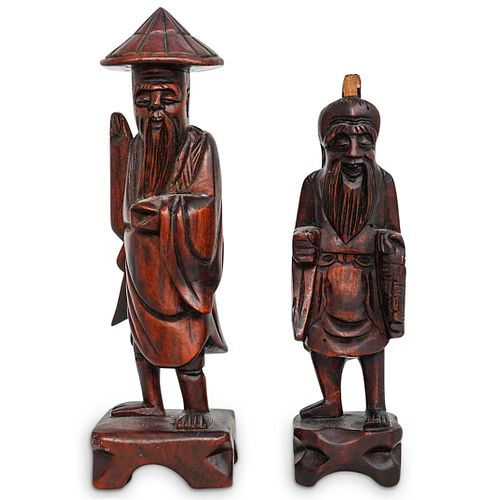 Pair of Chinese Carved Wood Figures