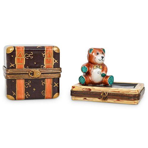 (2 Pc) Limoges Porcelain Trinket Boxes