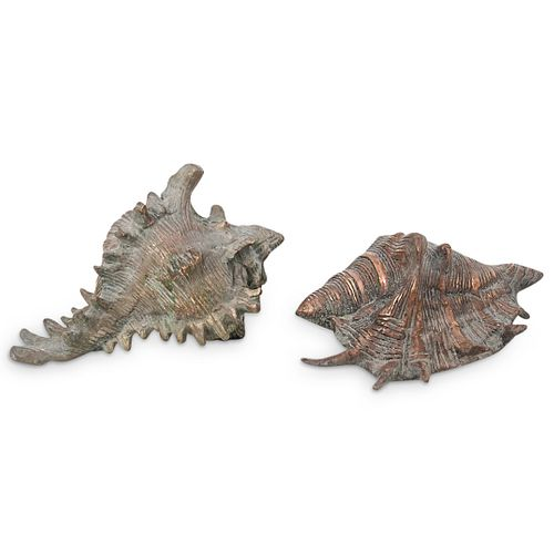(2 pc) Brass Conch Shells