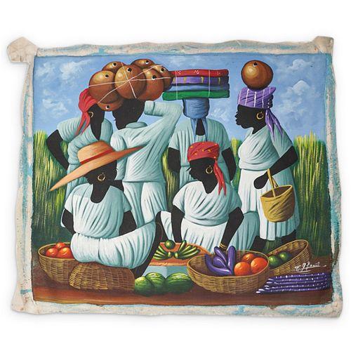 C.J. Louis (Haitian) Acrylic Painting On Canvas