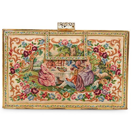 (2 Pc) Antique Petit Point Tapestry Clutch Purses