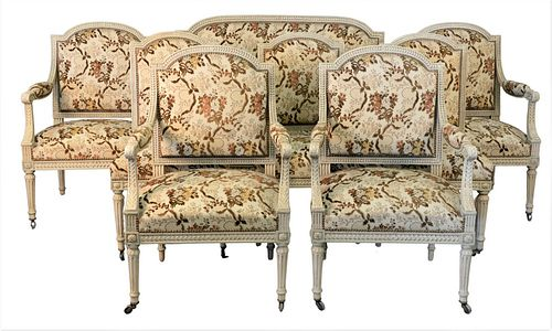 Eight Piece Louis XVI Style Salon Suite, having four armchairs, three side chairs, along with one loveseat, loveseat length 50 inches.