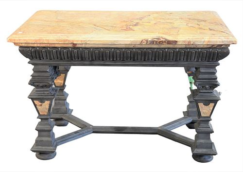 """Baroque Style Table, having molded marble top on heavy base with inlaid marble panels, height 31 inches, top 32"""" x 49""""."""