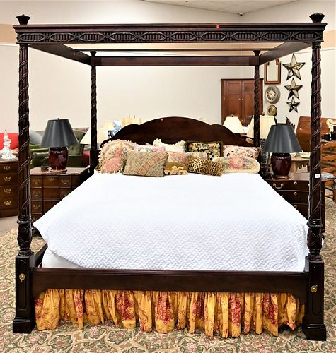 Baker King Size Mahogany Canopy Bed, having carved posts and canopy, height 87 inches, width 86 inches.