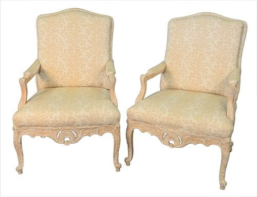 Pair of Michael Taylor Designs Inc., San Francisco Chairs Louis XV style armchairs having custom upholstery, height 42 inches, width 28 inches.