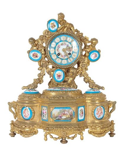 Antique Fr. Leroy & Fils Gilt Bronze Mantel Clock