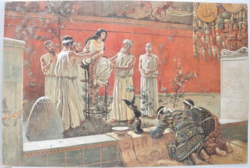 "After Camillo Miola, ""The Oracle"" Italian Fresco"