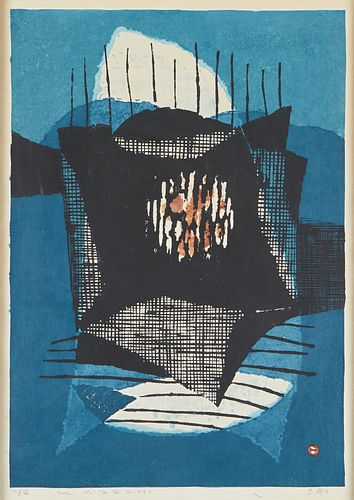 Umetaro Azechi Japanese Abstract Woodblock Print
