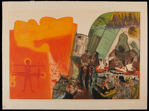 "Warrington Colescott ""Ode to Orange County"" Intaglio Print 1970"