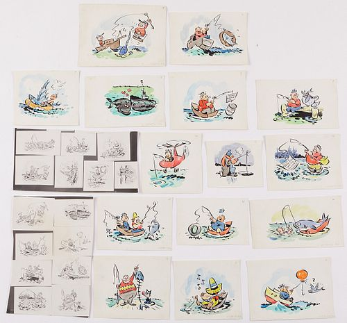 George Lichty 15 Cartoon Panels Original Drawings