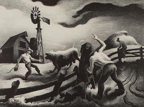 "Thomas Hart Benton ""Photographing the Bull"" Lithograph 1950"