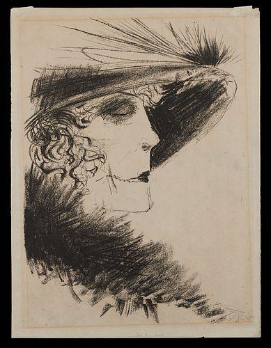 "Otto Dix ""Dame mit Reiher"" Lithograph 1923"