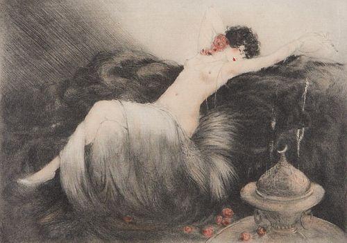 "Louis Icart Aquatint 1926 ""Smoke"""