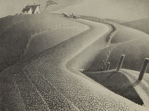 """Grant Wood """"March"""" Lithograph"""