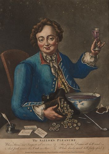 "18th C. ""The Sailor's Pleasure"" Satirical Print"