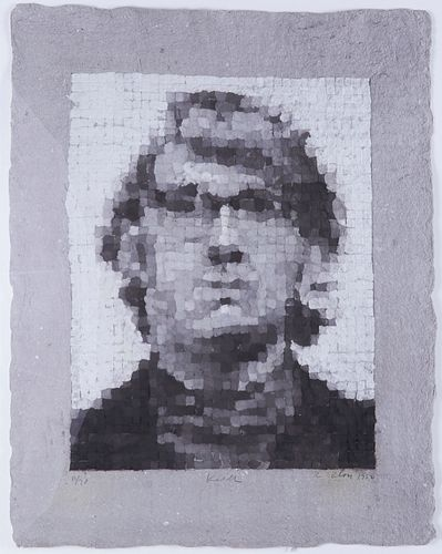 """Chuck Close """"Keith V"""" Handmade Paper 1982"""
