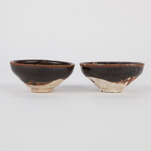 Pair of Shipwreck Song Jian Tea Bowls