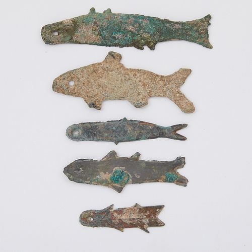 Grp: 5 Early Chinese Bronze Fish Money