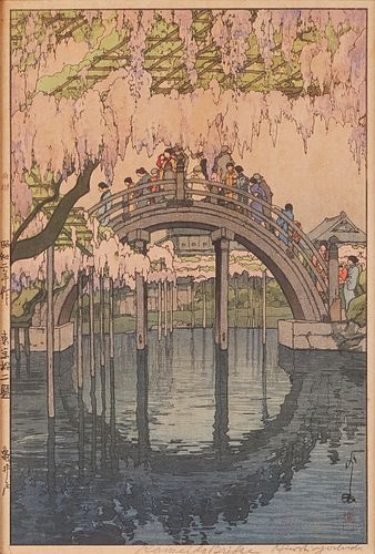 Hiroshi Yoshida Kameido Bridge Print - Pencil Signed