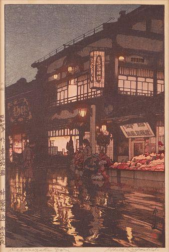 """Hiroshi Yoshida """"Kagurazaka Dori"""" Woodblock Print - Pencil Signed"""