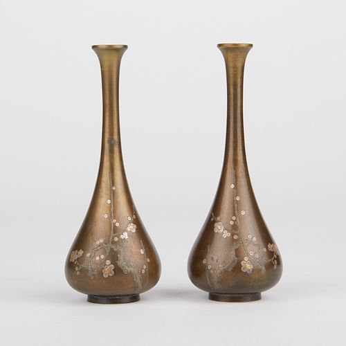 Pair of Japanese Hattori Mixed Metal Vases - Marked