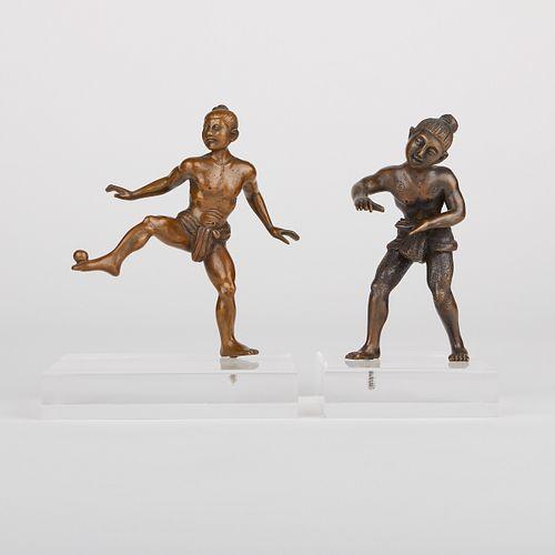 Pair of Burmese Bronze Ball Players Figures
