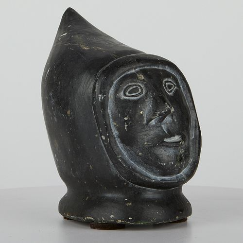 Inuit Stone Carving Head in Parka