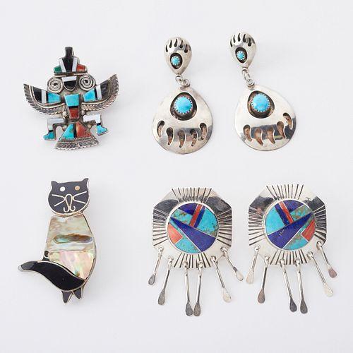 Grp: 4 Southwestern Earrings & Pendants