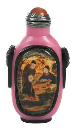 Chinese Pink Glass Reverse Painted Snuff Bottle