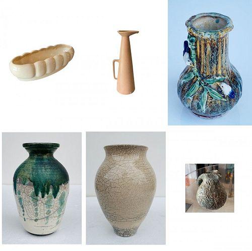 Lot of 6 Vintage Ceramic Pieces, Vases & Pitchers
