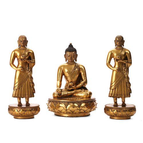 A GROUP OF GILT-BRONZE BUDDHA FIGURES