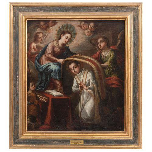 ANTONIO DE TORRES IMPOSICIÓN DE LA CASULLA A SAN ILDEFONSO MÉXICO, SIGLO XVIII Firmado y fechado 1725 Óleo sobre tela 62 x 54 cm | ANTONIO DE TORRES I