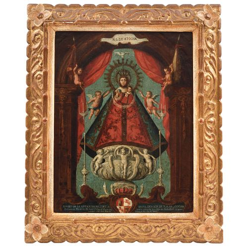 VERA EFIGIE DE NUESTRA SEÑORA DE ATOCHA MÉXICO, SIGLO XVIII Óleo sobre lámina de cobre Detalles de conservación 40 X 31 cm | VERA EFIGIE DE NUESTRA SE