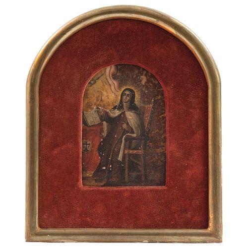 SANTA TERESA DE JESÚS MÉXICO, SIGLO XVIII Óleo sobre placa de mármol 12.5 x 9 cm | SANTA TERESA DE JESÚS MEXICO, 18TH CENTURY Oil on marble plate 4.9