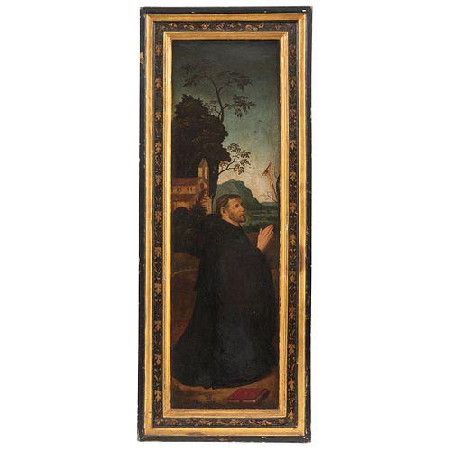 SAN ANTONIO EUROPA, SIGLO XIX Óleo sobre tabla  Detalles de conservación  74 x 22 cm | SAN ANTONIO EUROPE, 19TH CENTURY Oil on wood Conservation detai